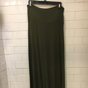 Olive green jersey cotton maxi skirt, size L